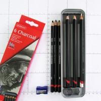Derwent CHARCOAL TIN set 6 / pensil arang set
