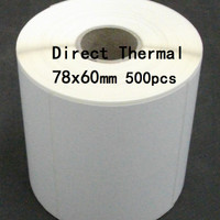 "Direct Thermal 78X60mm 1 Line 500pcs Core1"" gap,Label Stiker Barcode"