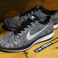 Sepatu Running Nike Flyknit Racer Racing PREMIUM 2.0 Grey Oreo