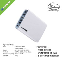 BAGUS!! Hippo Enina Simple Pack 6 Ports Charger Iphone Diskon