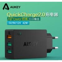 BAGUS!! Aukey USB Desktop Wall Charger 3 Port EU Plug 4 Murah