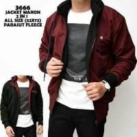 jaket bolak balik merah maroon