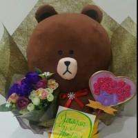 Jual Buket Bunga Boneka Wisuda/Anniversary/Birthday Brown LINE Murah