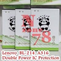 Baterai Lenovo BL214 BL-214 BL 214 A316 A269i Rakkipanda Double Power
