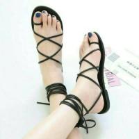 Jual sendal cantik hitam tali, sepatu sandal santai pesta wanita Murah