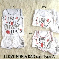 Stelan baju anak Lucu Baju Rumah Murah - I Love You Mom N Dad