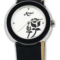 21047L-21 jam tangan wanita karet hitam-30mm ori Buana Jam