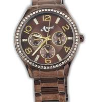 Angel 2065L-17 jam tangan wanita ceramic brown-35mm ori Buana Jam