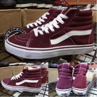 Sepatu Vans Sk8 Skate Hi High Red Maroon Merah Marun Original Premium