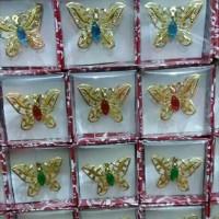 Souvenir Pernikahan Bros Kupu Kupu Gold Murah