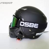 Jual Helm Retro Pilot Klasik JPN MOMO Black Doff + OSBE Goggle Mask Murah