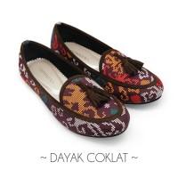 Flat shoes wanita / sepatu etnik, batik, tenun - Dayak Coklat