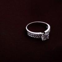 Premium Jewelry Cincin Perak Lapis Emas Putih / Gold Plated SF-RS-39