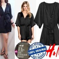 H&M Black Satin kimono