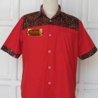 Kemeja Batik Tulis Madura Formal Lengan Pendek Merah Garis LBK 220 (L)