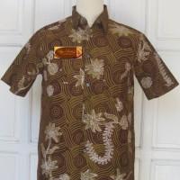 Kemeja Batik Tulis Madura Modern Lengan Pendek Fractal Bunga LBK 216 M