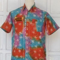 Kemeja T-shirt Batik Tulis Madura Modern Gradasi Fractal LBK 209 (M)