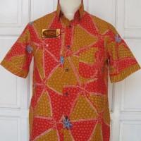 Kemeja T-shirt Batik Tulis Madura Merah Kuning Segitiga LBK 200 (M)