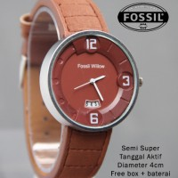 Jam Tangan Fossil Willow Tanggal Kulit (4 warna) Super Premium
