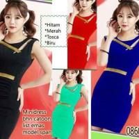 mini dress bhn catoon list emas model span 08604FS modis trend terbaru