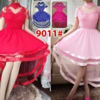 dress gaun pesta ekor brukat stretch 9011# modis elegant glamour
