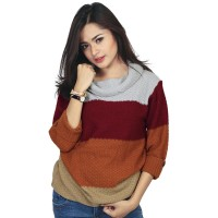 Baju Rajut Wanita Cewek Cewe Warna Orange Komb RZM 090 RZ