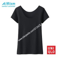 KAOS WANITA UNIQLO AIRism SCOOP NECK 180690/163810/181481 HITAM BLACK