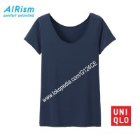 KAOS WANITA UNIQLO AIRism SCOOP NECK T-shirt 180690/163810/181481 navy