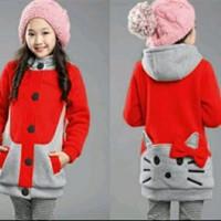 Jual Pakaian Baju Jaket Anak Hoodie Kitty Warna merah Ribbon Murah