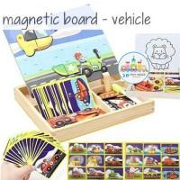 Magnetic Board - Transportation Vehicle - Puzzle kayu - mainan edukasi