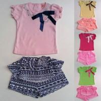 Baju Setelan Anak Bayi Perempuan Cewek Kaos Pita Celana Pendek Batik