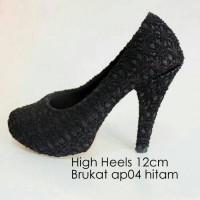 Heels Brukat Full Black