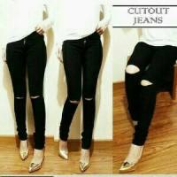 Celana Jeans JUMBO Big Size LOIS Ripped Knee Black / Hitam Sobek