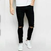 Jual Ripped Jeans pria celana levis sobek black hitam keren distro murah Murah