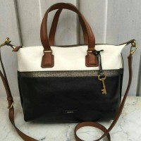 JUAL FOSSIL JULIA SATCHEL BLACK WHITE. TAS BRANDED ORIGINAL