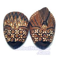 Jual Topeng Rama Shinta Batik Kayu L25 (Hiasan Dinding Nuansa Seni Budaya) Murah