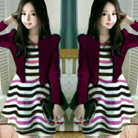 setelan dress cardigan garis merah maron casual santai modis seksi