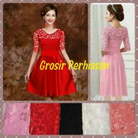 dress hitam / gaun pesta / lace brokat black / fashion murah