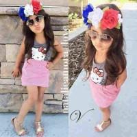 Setelan Baju Anak Perempuan Umur 3 - 5 Tahun Murah [hawai hk kid VL]