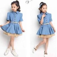 Baju Dress Anak Perempuan Jeans Umur 3 - 5 Tahun [kellyson kids VL]