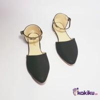 Sepatu Flat Shoes / Flatshoes Wanita Tali Vasco DM06 Black / Termurah