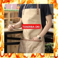 Apron Canvas and Synthetic Leather / Celemek, Barista/chef Black PD34
