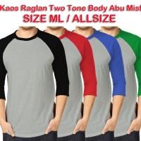 Kaos Raglan UKURAN M, L, XL Two Tone Body Abu Misty Cotton Combed