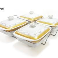 Prasmanan Persegi Quartet Food Warmer HW09 Motif PADI Merek VICENZA,