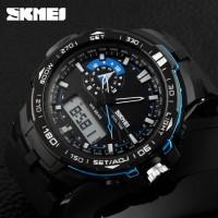 Jam tangan SKMEI AD 1081 SHELTER Original dual time rubber blue