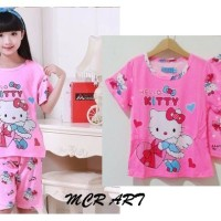 STKDHK127 - Setelan Pendek Anak Hello Kitty Angel Love Gift Pink