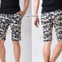 Jual Celana Chino Pendek Santai Pria / Motif Pinggang Jogger Pants Cowok 04 Murah