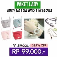 PAKET LADY (Merlyn Slingbag & Owl Watch & Original Kabel Data Invigo)