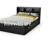 Tempat tidur, divan, dipan, ranjang minimalis kayu jati + rak + laci 3