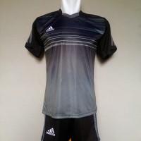 Jual Baju Olahraga Bola Setelan Kaos Jersey Futsal Adidas AD02 BlackCarcoal Murah